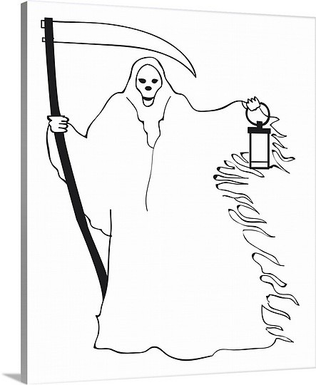 Simple black-line death silhouette keeping a scythe and street lamp tattoo design