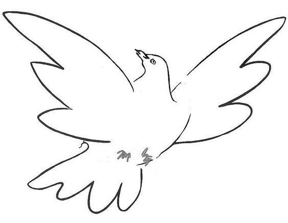 Simple black-line dove tattoo design