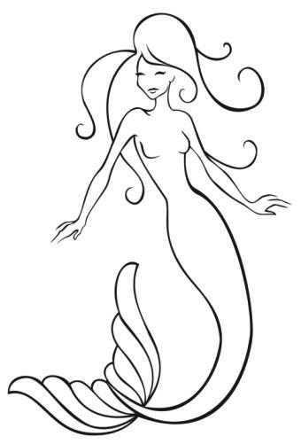Simple black-line mermaid silhouette tattoo design