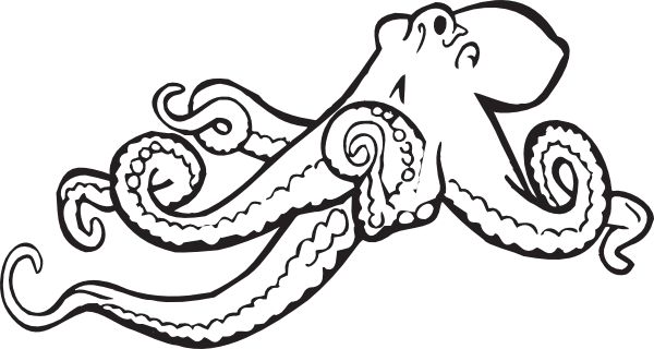 Simple black-line octopus tattoo design