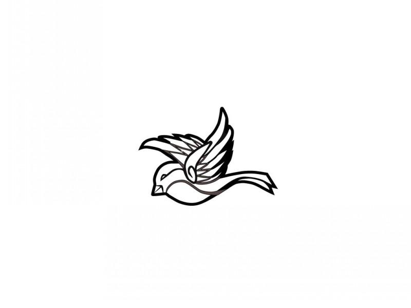 Simple black-line sparrow flying left tattoo design