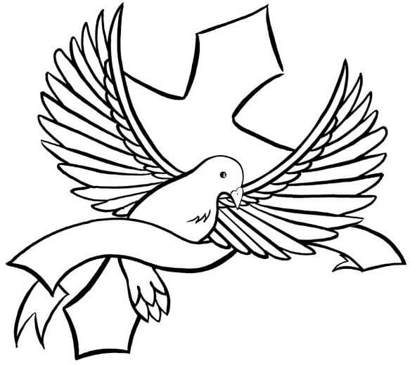 Simple black dove with stripe and cross tattoo design ...