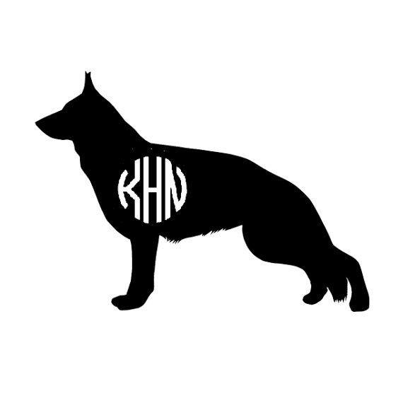 Simple black german shepherd silhouette with white-ink print tattoo design