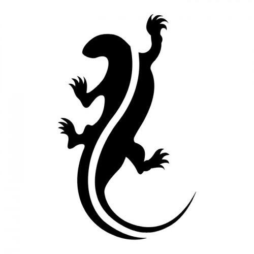 Simple black lizard with white stripe spine tattoo design