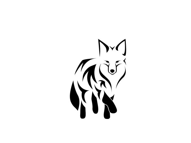 Simple black tribal fox tattoo design