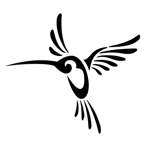 Simple black tribal hummingbird tattoo design