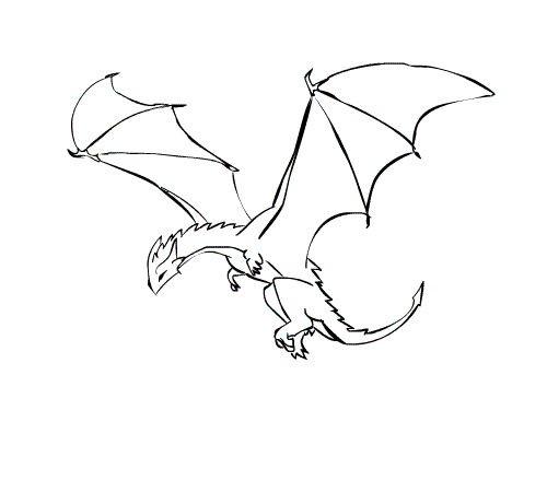 Simple cartoon outline dragon tattoo design - Dessin dragon simple ...