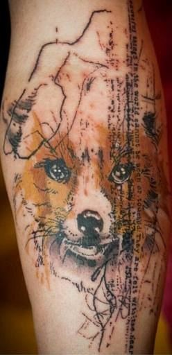 Simple colored trash polka style arm tattoo of fox head with lettering