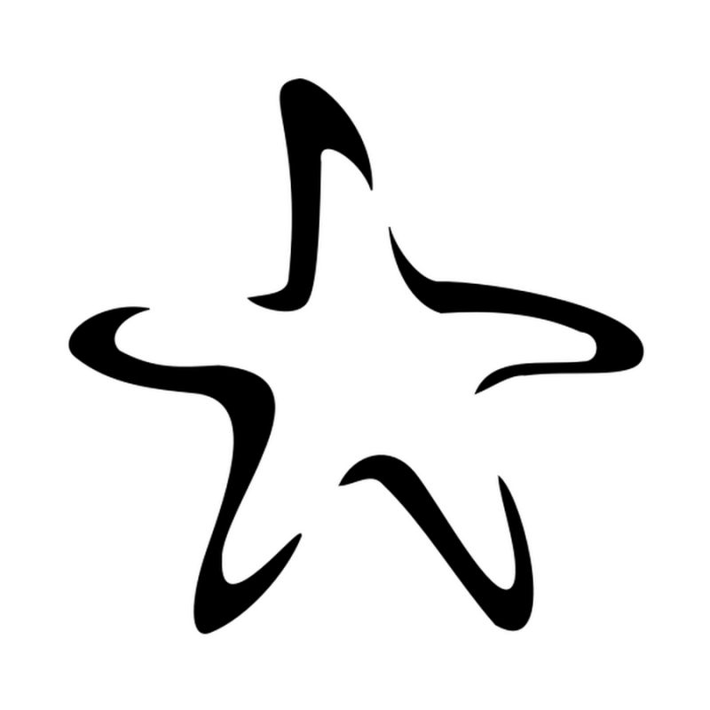 Simple colorless starfish silhouette tattoo design