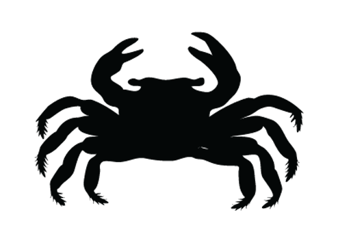Simple crab silhouette with villous legs tattoo design