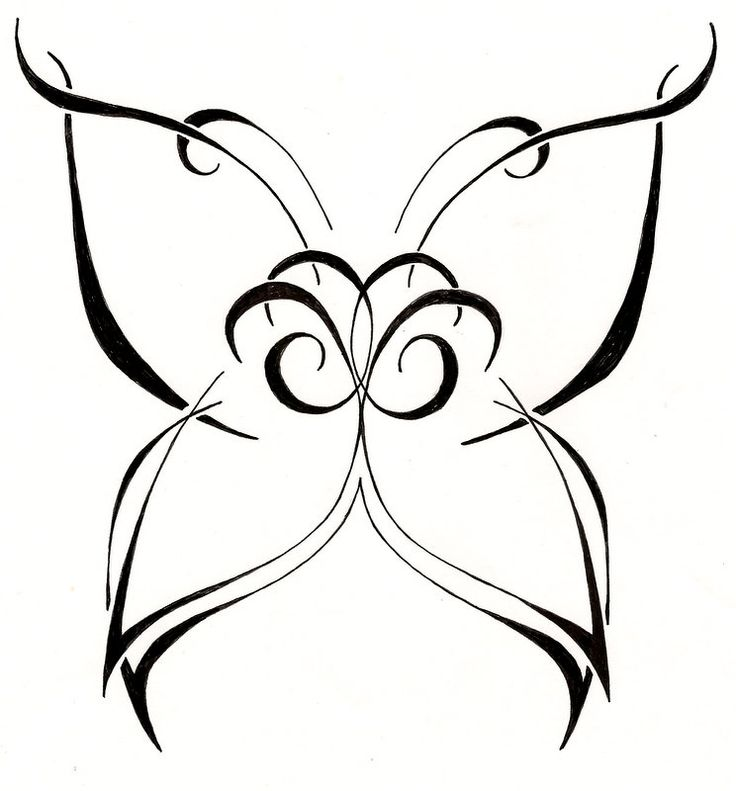 Simple Curly Black Line Butterfly Tattoo Design Tattooimages Biz