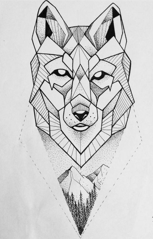 simple dotwork geometric wolf with mountains view tattoo. Black Bedroom Furniture Sets. Home Design Ideas
