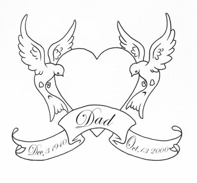 Simple dove couple with a headt and quoted ribbon tattoo design
