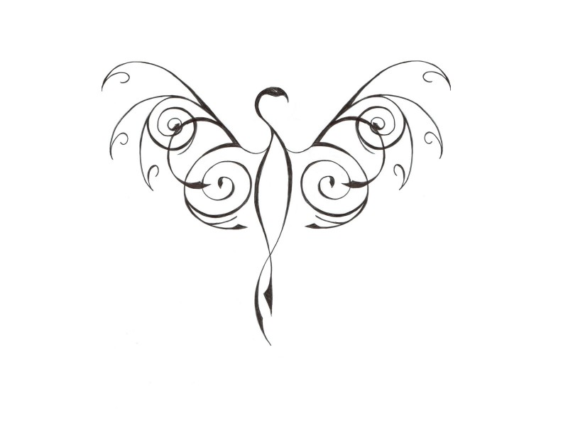 Simple elegant curly-line phoenix silhouette tattoo design