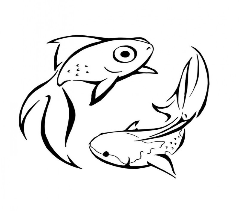 Simple fish couple tattoo design by Wolf Souled