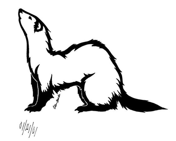 Simple fluffy outline rodent tattoo design