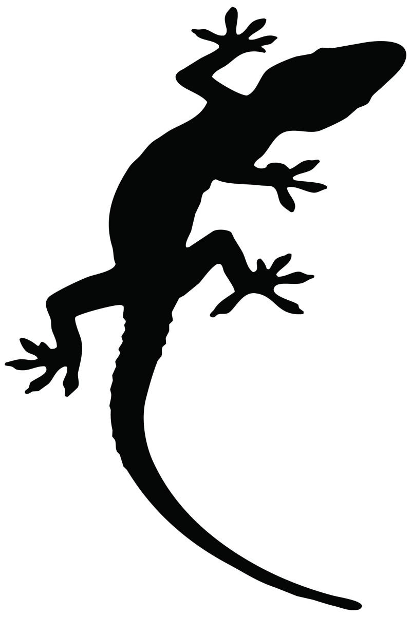 Simple full-black lizard tattoo design