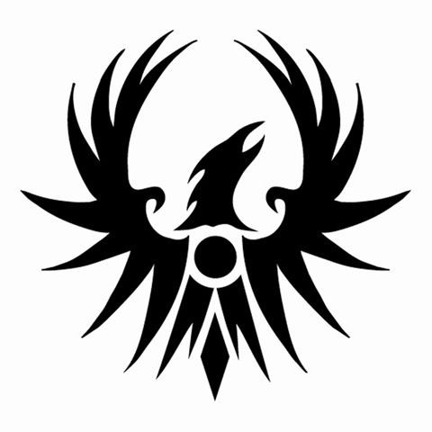 Simple full-black phoenix head and wings emblem tattoo design