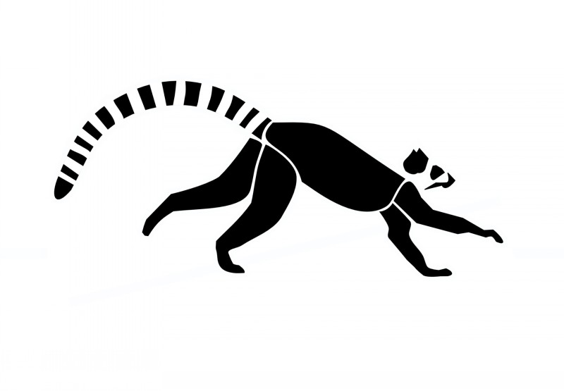 Simple full-black running lemur tattoo design