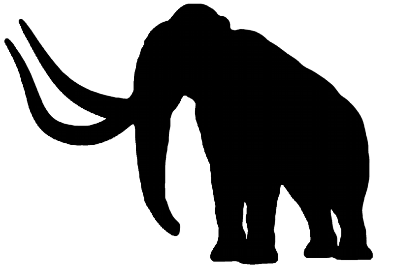 Simple full black mammoth with huge horns tattoo design