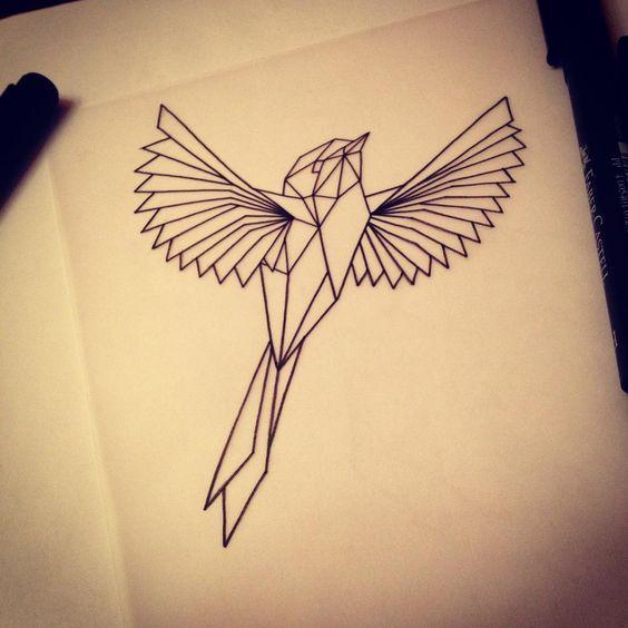 simple geometric bird tattoo design. Black Bedroom Furniture Sets. Home Design Ideas