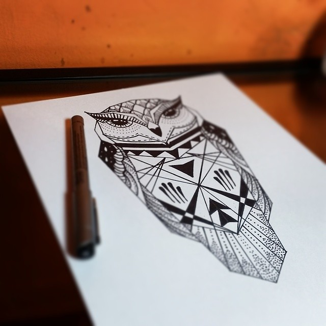 Simple Geometric Black Line Owl Tattoo Design Tattooimagesbiz