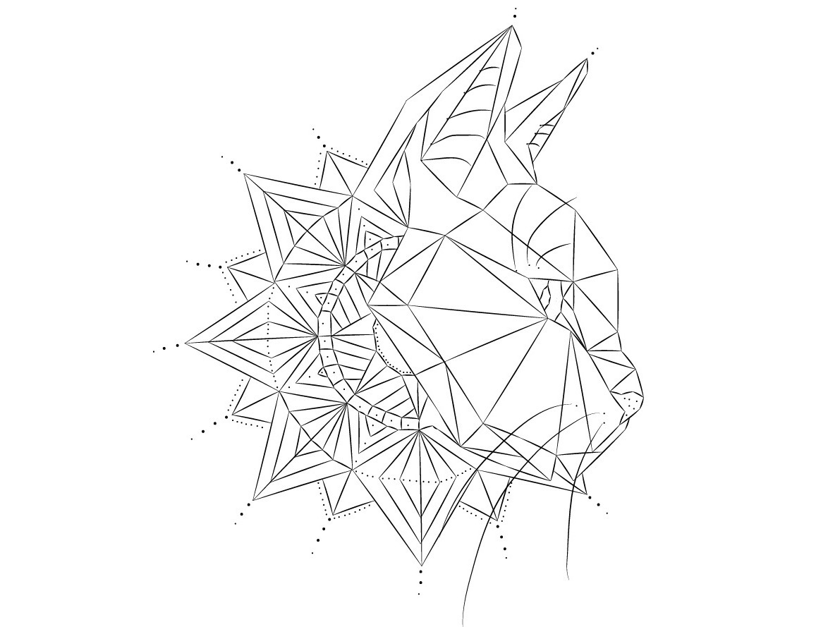 Geometric Line Drawing Artists : Simple geometric cat head with mandala tattoo design