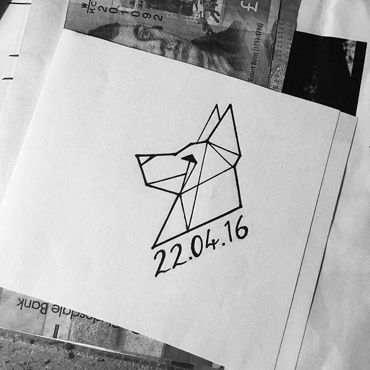 Simple geometric german shepherd head in profile with date tattoo design
