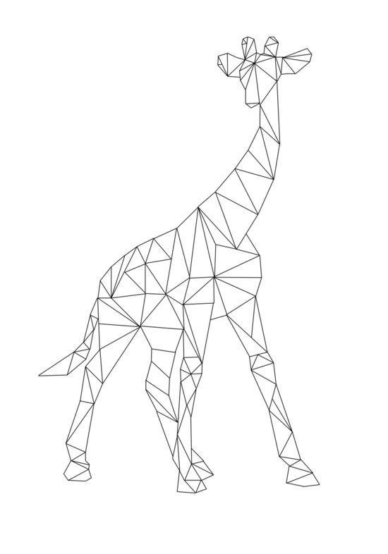 Geometric Line Art Animals : Simple geometric giraffe in full height tattoo design
