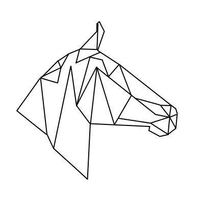 Simple geometric horse head in profile tattoo design