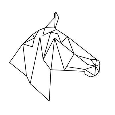 Simple geometric horse head in profile tattoo design ...
