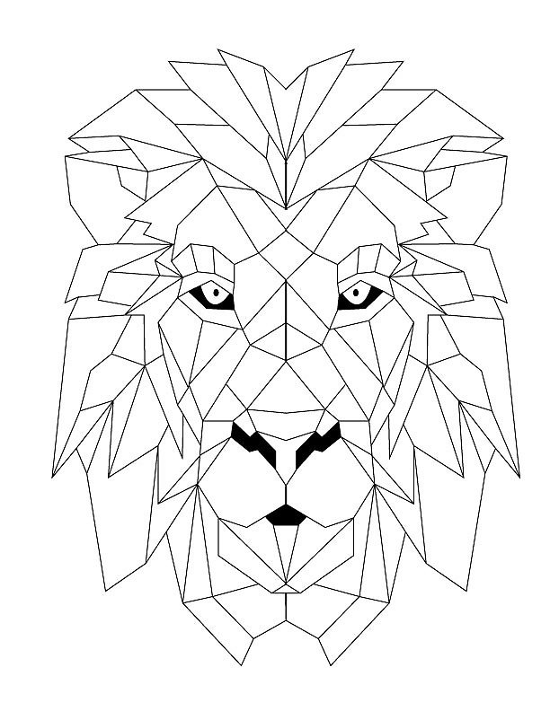 Simple geometric lion head tattoo design