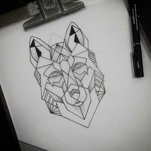 Simple geometric wolf muzzle tattoo design