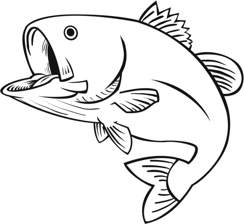 Simple gigant outline open-mouth fish tattoo design