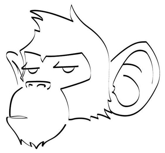 Simple indifferent outline chimpanzee head tattoo design