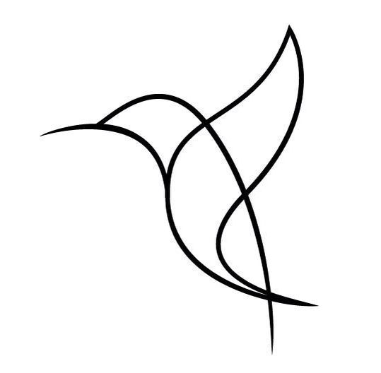 Simple line hummingbird without eyes tattoo design
