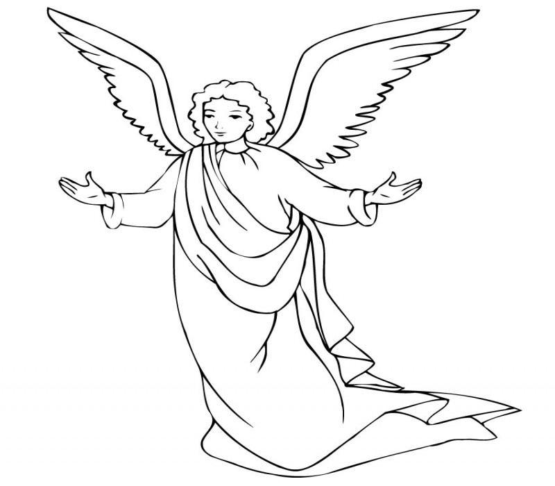 Simple outline cartoon angel pastor tattoo design