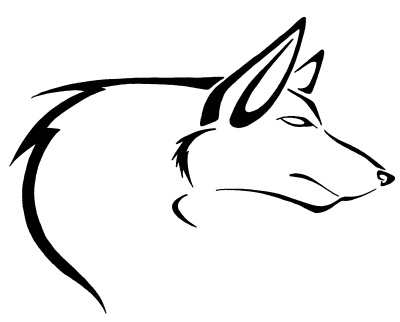 Simple outline dog tattoo design by Pretty Red Wolf