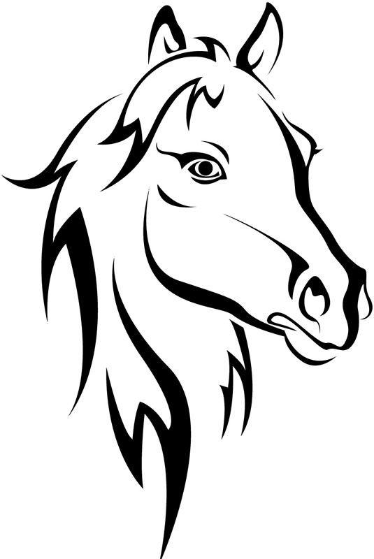 Simple outline horse portrait tattoo design
