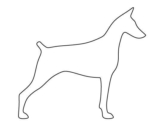 Simple outline standing doberman tattoo design
