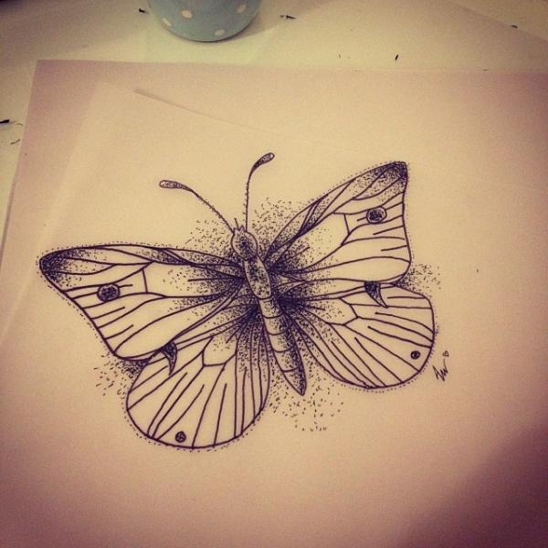 Simple small dotwork butterfly tattoo design