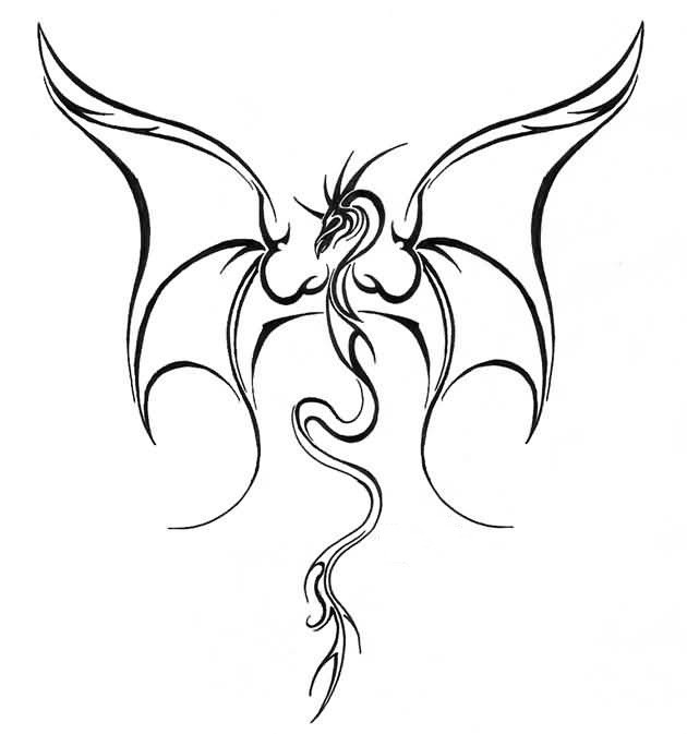 Simple thin-line flying dragon tattoo design