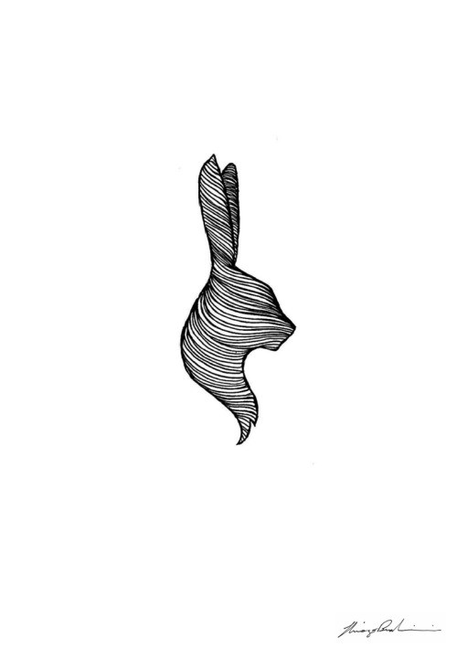 Simple tiny line-printed hare head logo tattoo design