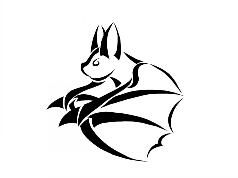 Simple tribal bat flying to the left tattoo design