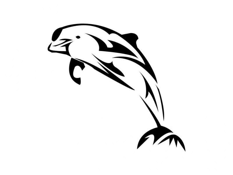 Simple tribal dolphin tattoo design
