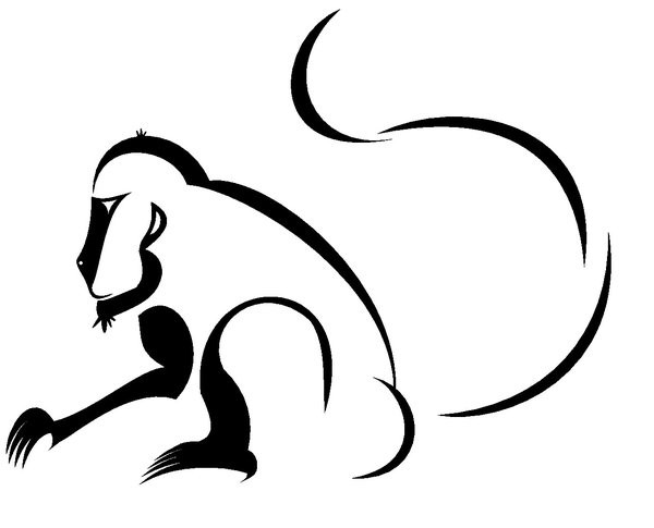 Simple tribal sitting monkey tattoo design