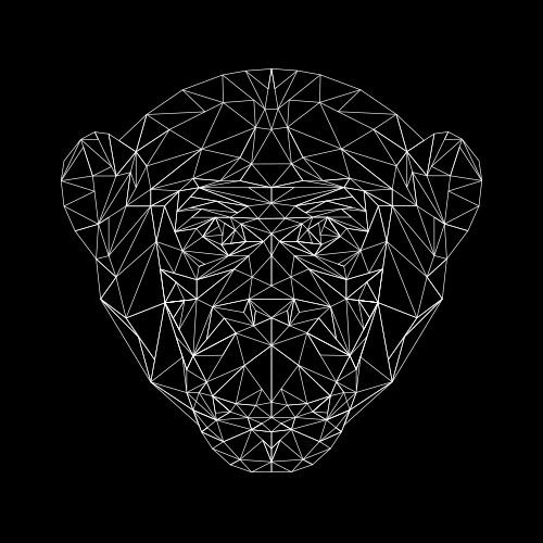 Simple white-ink geometric monkey face tattoo design