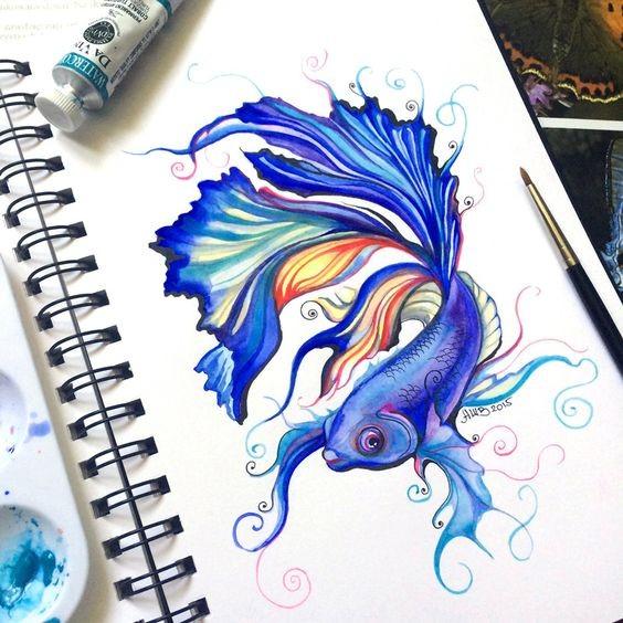 Single gold fish in bright blue colorf tattoo design