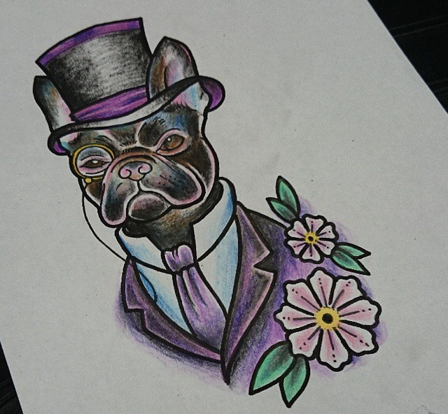Sir bulldog in suit and hat with flowers tattoo design