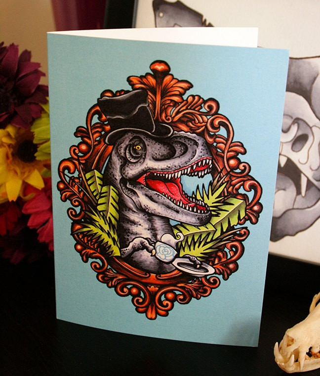 Sir dinosaur wearing hat with a cup of tea in mirror frame tattoo design